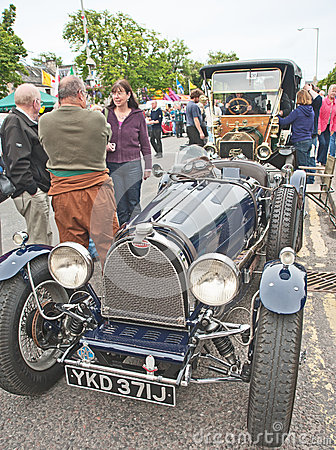 Bugatti and Ford cars at Grantown on Spey Editorial Stock Photo