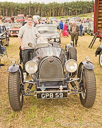 Bugatti on show at Roseisle Vintage Rally. Editorial Photography