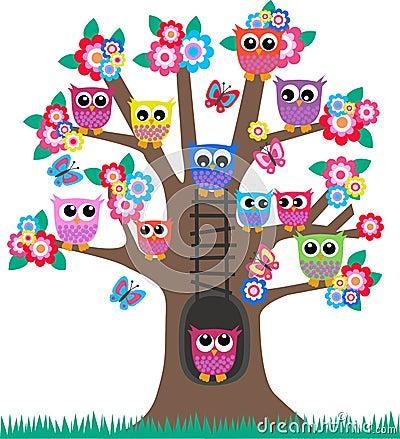 Buhos en un árbol