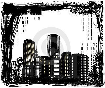 Buidings in grunge frame illustration