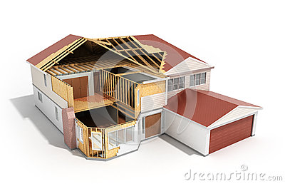 Build House Three Dimensional Image 3d Render On White Background