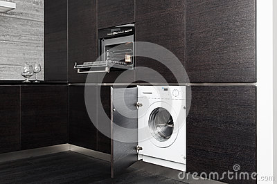 Build-in washing machine and cooker on kitchen