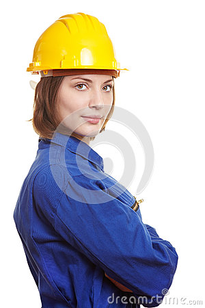 Builder with boiler suit and helmet