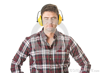 Builder with closed eyes on white background