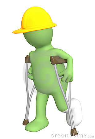 Builder with crutches