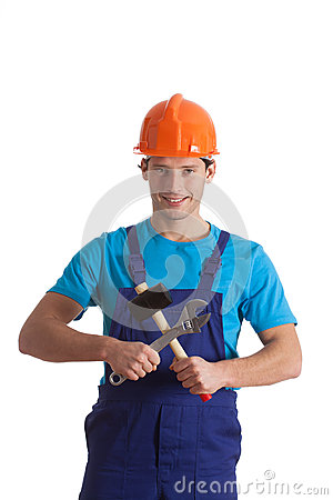 Builder with hammer and wrench