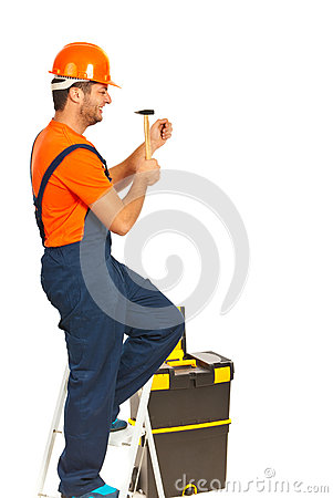 Builder man with hammer