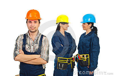 Builder man and his team of workers women