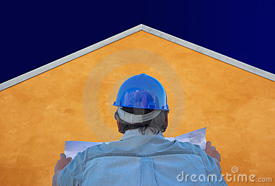 Builder, plans, orange house and sky