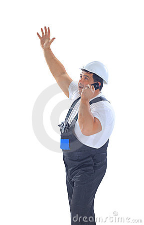 Builder screaming and talking on mobile phone