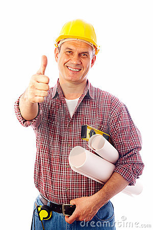 Free Builder Shows Gesture OK Royalty Free Stock Image - 13820936