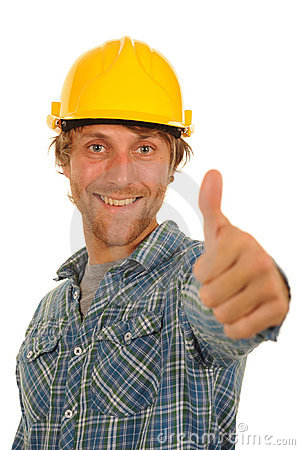 Builder with thumb up