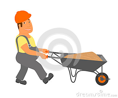 Builder with trolley is going to the project