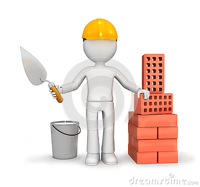 Builder with trowel and bricks