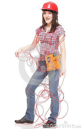 Builder woman with entangled red cable