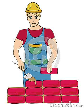 Builder working. Working mason makes laying bricks