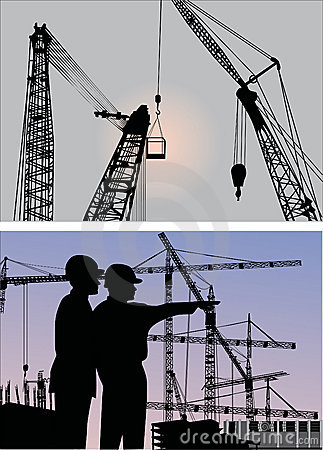Builders and cranes