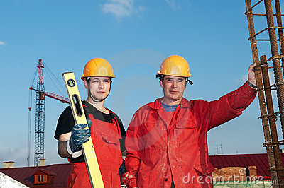 Builders workers at construction