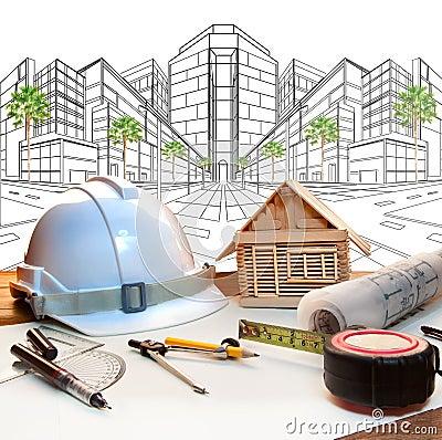 建筑师工作表和两点透视现代buildin