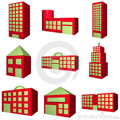 Building Architecture Set in 3d Red