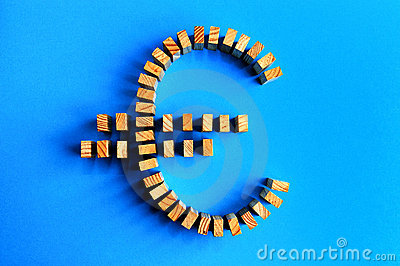 Building blocks Euro symbol isolated on a blue