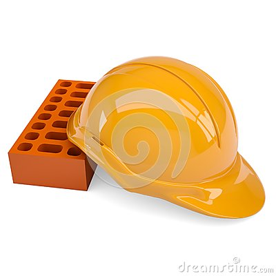 Building bricks and helmet