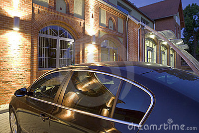 Building and car at night