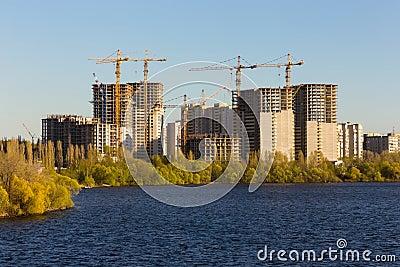 Building of city habitation on big river