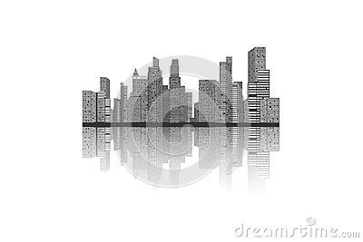 Building and City Illustration, City scene on white background Stock Photo