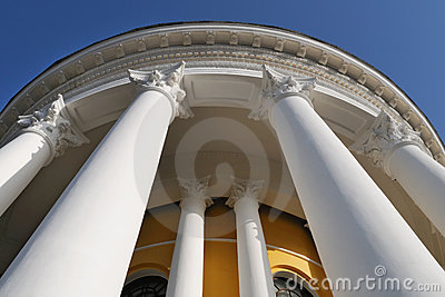Building with columns, view from below