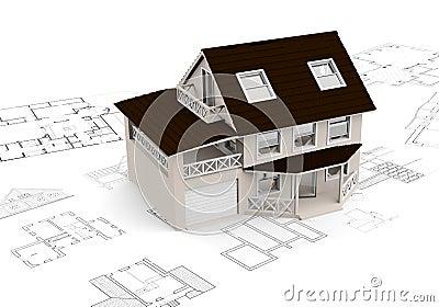 Building concept with blueprints