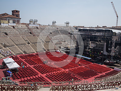 Building a concert stage Editorial Stock Photo