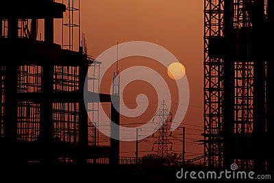 Building Construction site at Sunset Dusk
