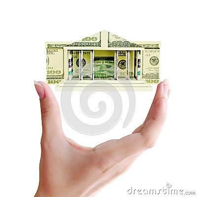Building of dollar bills