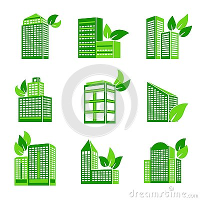 Business modern urban office green leaves eco buildings icons isolated ...