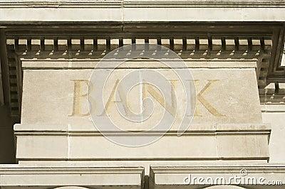 Building Edifice With BANK Engraving.