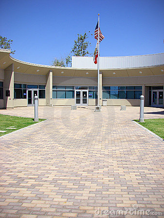 Building entrance with flags
