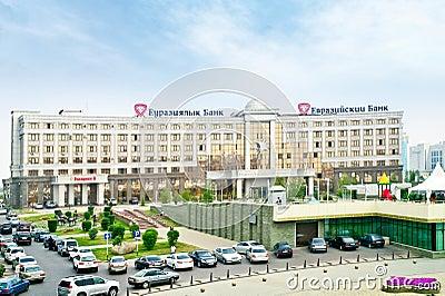 Building of the Eurasian bank and Eurasian Corporation of Natura Editorial Stock Photo