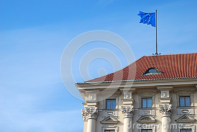 Building with European Union flag