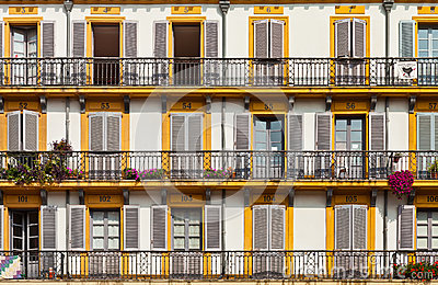Building exterior with windows and balconies Editorial Stock Photo