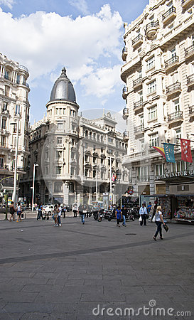 Building at the Gran Via.Madrid, Spain. Editorial Image