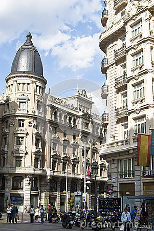 Building at the Gran Via.Madrid, Spain. Editorial Stock Photo