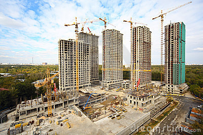 Building of high-rise apartment in the forest zone Stock Photo
