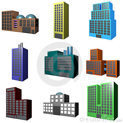 Building Icons Set in 3d