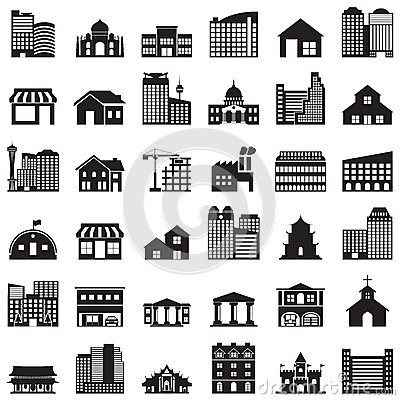 Free Building Icons Set Stock Images - 43875454