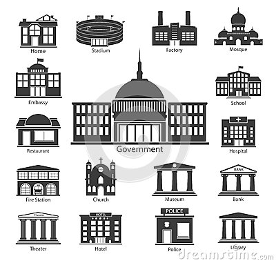 Free Building Icons Set, Government Buildings Stock Photo - 42236350