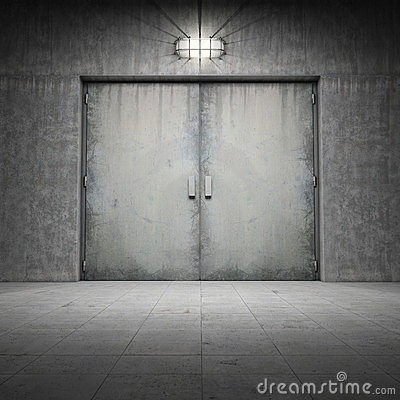 Building made of concrete with door