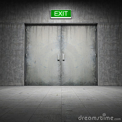 Building made ​​of concrete with exit door