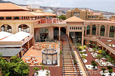 Building and outdoor restaurant of luxury hotel