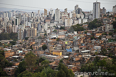 Building and poor slum of Brazil.